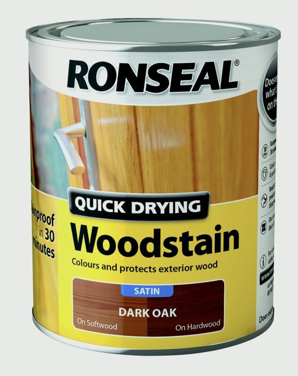 Ronseal Quick Drying Woodstain Satin 750ml - Dark Oak