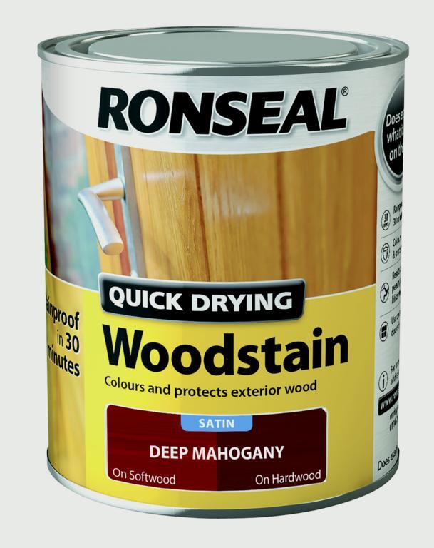 Ronseal Quick Drying Woodstain Satin 750ml - Deep Mahogany