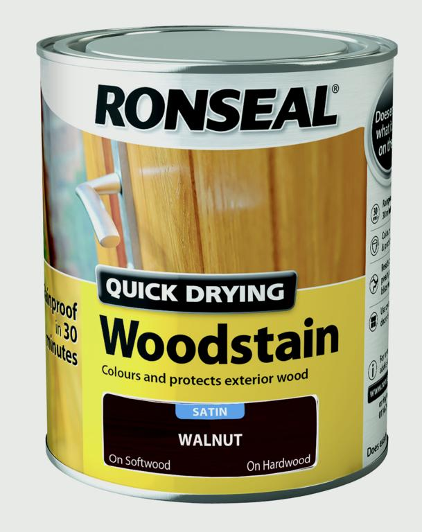 Ronseal Quick Drying Woodstain Satin 750ml - Walnut