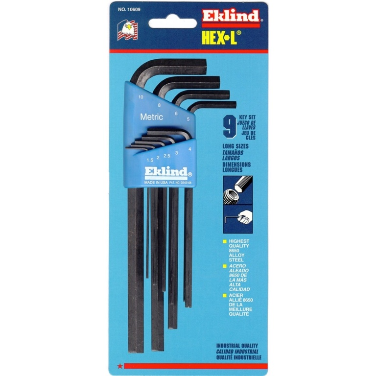 Eklind Metric Hex-L Key Set - 9 Long Arm