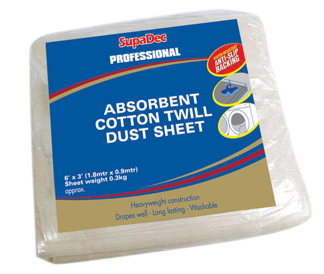 SupaDec Absorbent Cotton Twill Dust Sheet - 6 x 3 Water Resistant
