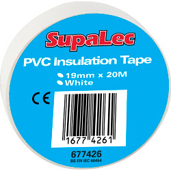 SupaLec PVC Insulation Tape Pack 10 - White 20 Metre