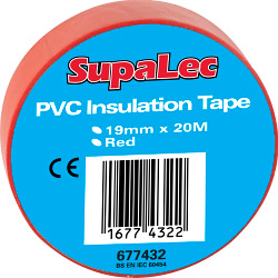 SupaLec PVC Insulation Tapes Pack 10 - Red 20 Metre