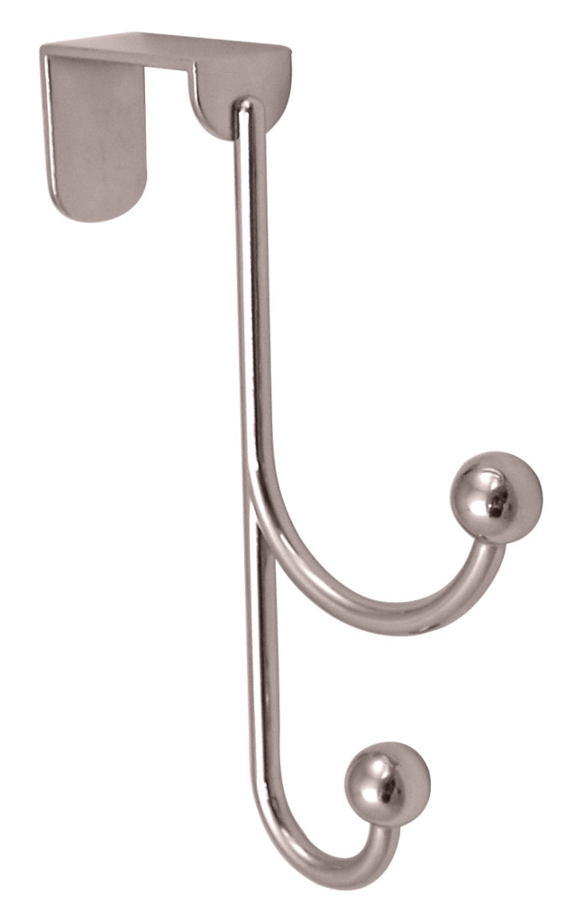 Headbourne 2 Polished Chrome Ball Hooks Over The Door Hanger - 20 x 155mm