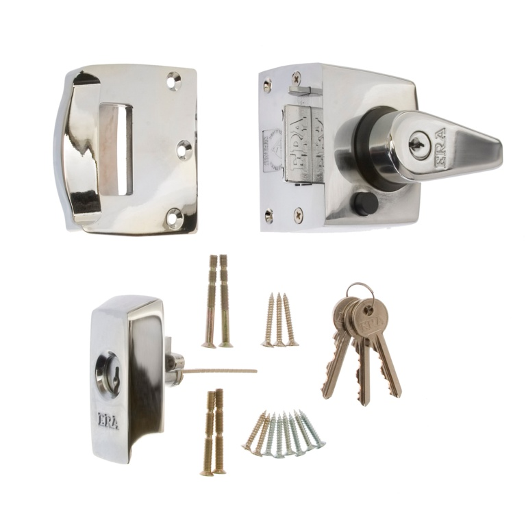 Era BS High Security Nightlatch 40mm - Finish: Polished Chrome Body - Chrome Cylinder