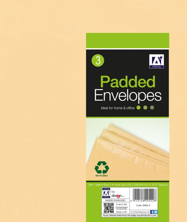 Anker Padded Brown Envelopes - 240 x 275 Pack 4