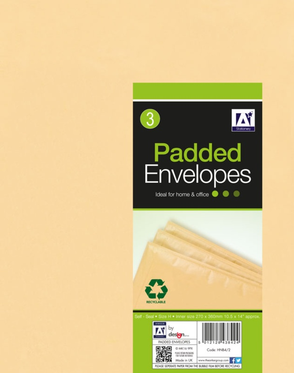 Anker Padded Brown Envelopes - 290 x 370 Pack 3