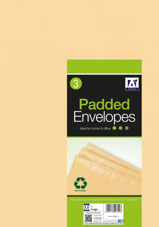 Anker Padded Brown Envelopes - 370 x 480 Pack 3