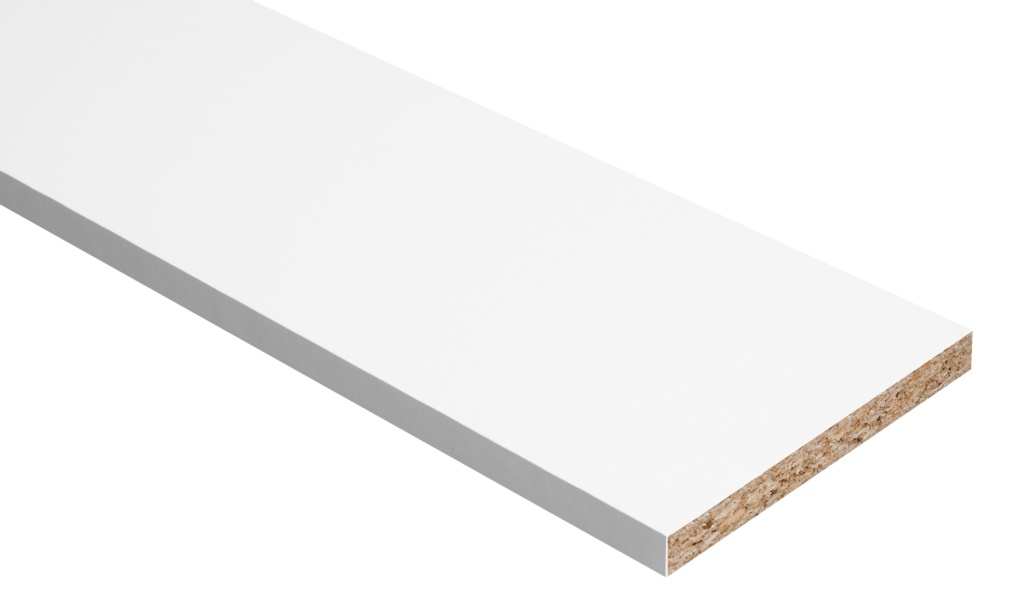Hill Panel White Melamine Faced Chipboard - 8ft x 18""
