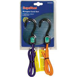 SupaTool Bungee Cord Set with Plastic Hooks - 600mm x 8mm