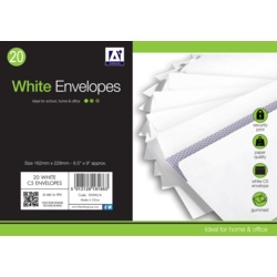 Anker White Gummed Envelopes Pack 20