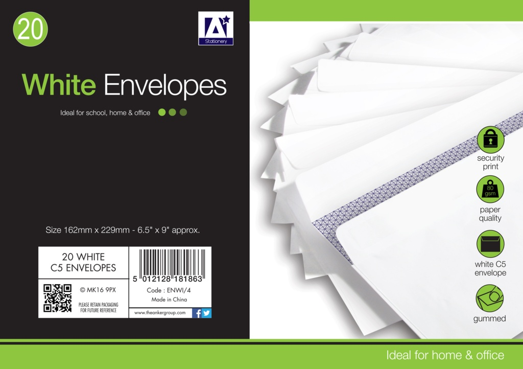 Anker White Gummed Envelopes Pack 25 - 162mm x 229mm
