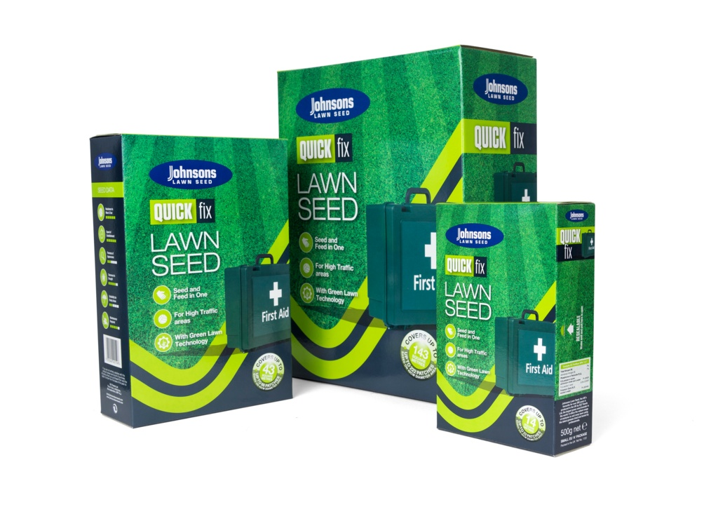 Johnsons Lawn Seed Quick Fix With Growmore - 500g Carton