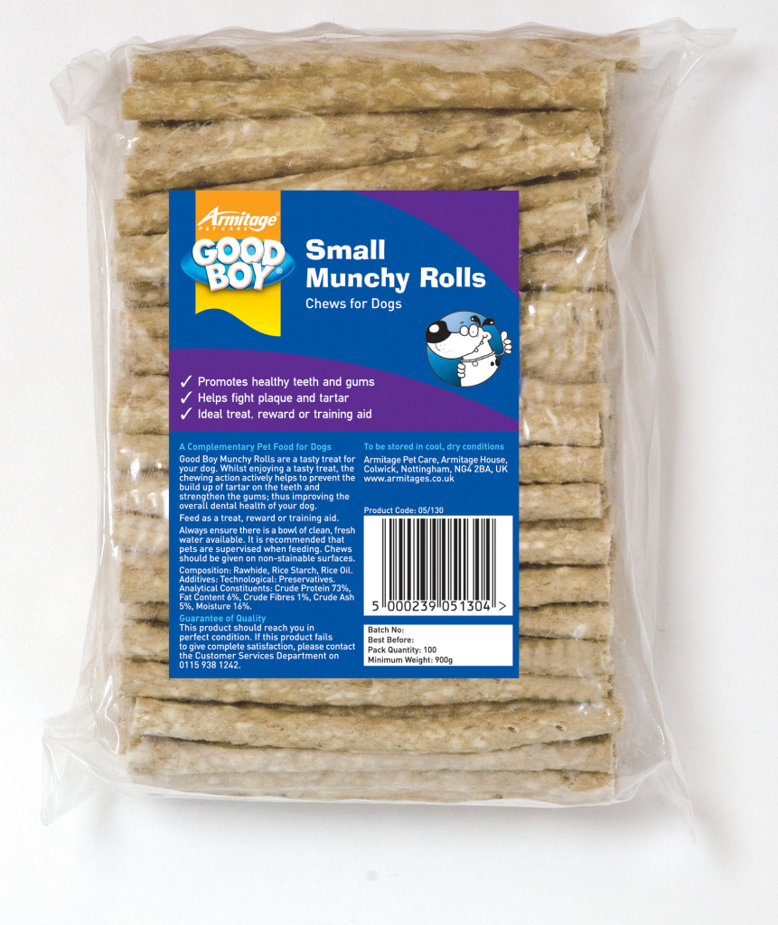 "Armitage Good Boy Munchy Natural Rolls (Pack Size 100) - 125mm (5"") x 9-10mm"