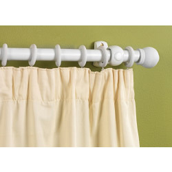 SupaDec White Finish Wooden Curtain Pole - 240cm, 28mm diameter