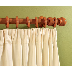SupaDec Walnut Effect Wooden Curtain Pole - 300cm, 28mm diameter