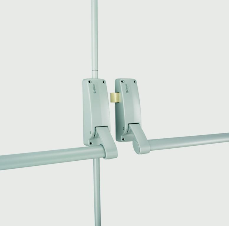 Briton Push Bar Panic Exit For Double Doors - Silver