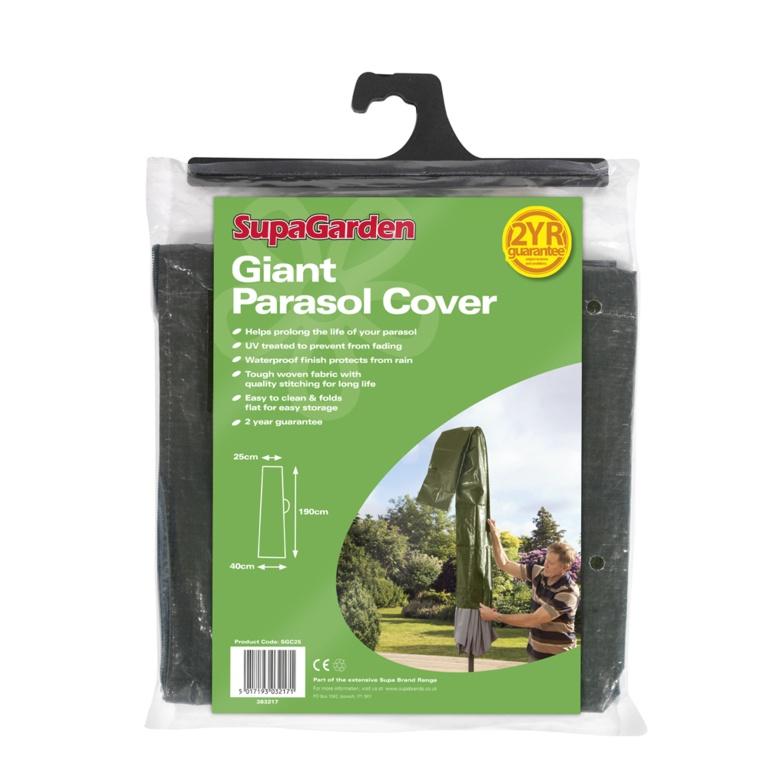 SupaGarden Giant Parasol Cover - 190cm x 40cm x 25cm