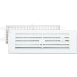 "Map White Louvred Vent (with Removable Flyscreen) - Opening Size: 9"" x 3"" - 229 x 76mm"