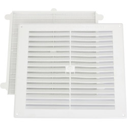 "Map White Louvred Vent (with Removable Flyscreen) - Opening Size: 9"" x 9"" - 229 x 229mm"