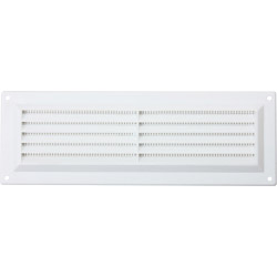 "Map White Louvred Vent (with Fixed Flyscreen) - Opening Size: 9"" x 3"" - 229 x 76mm"