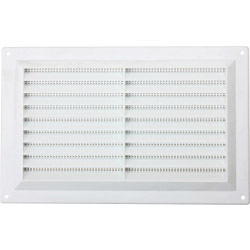 "Map White Louvred Vent (with Fixed Flyscreen) - Opening Size: 9"" x 6"" - 229 x 152mm"