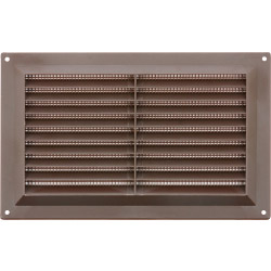 "Map Brown Louvred Vent (with Fixed Flyscreen) - Opening Size: 9"" x 6"" - 229 x 152mm"