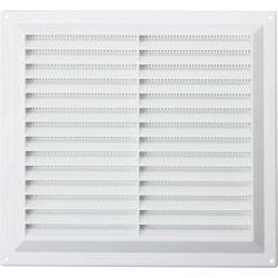 "Map White Louvred Vent (with Fixed Flyscreen) - Opening Size: 9"" x 9"" - 229 x 229mm"