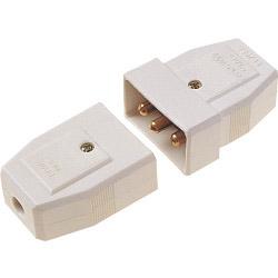 Dencon 5A, 3 Pin Nylon Connector, White Pre-Packed