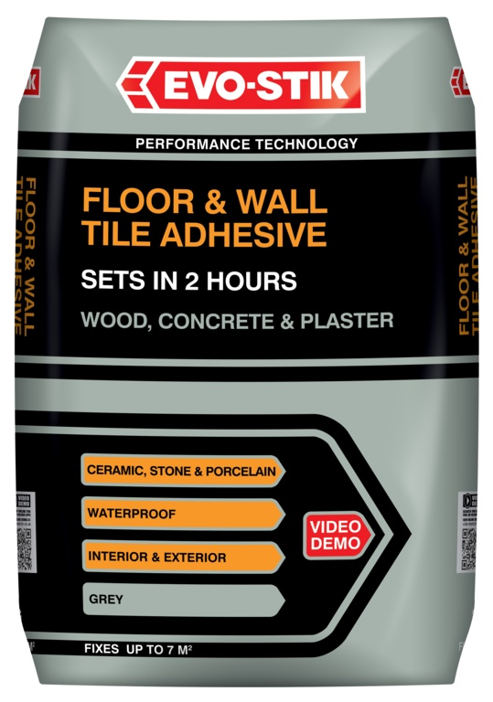 Evo-Stik Floor & Wall Tile Adhesive Fast Set For Wood, Concrete & Plaster - 20kg