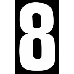 "Classic Designs 3"" White Number - 8 Digit Pack 5"