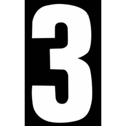 "Classic Designs 3"" White Number - 3 Digit Pack 5"