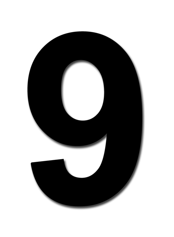 "Classic Designs 3"" Black Number - 6/9 Digit Pack 5"