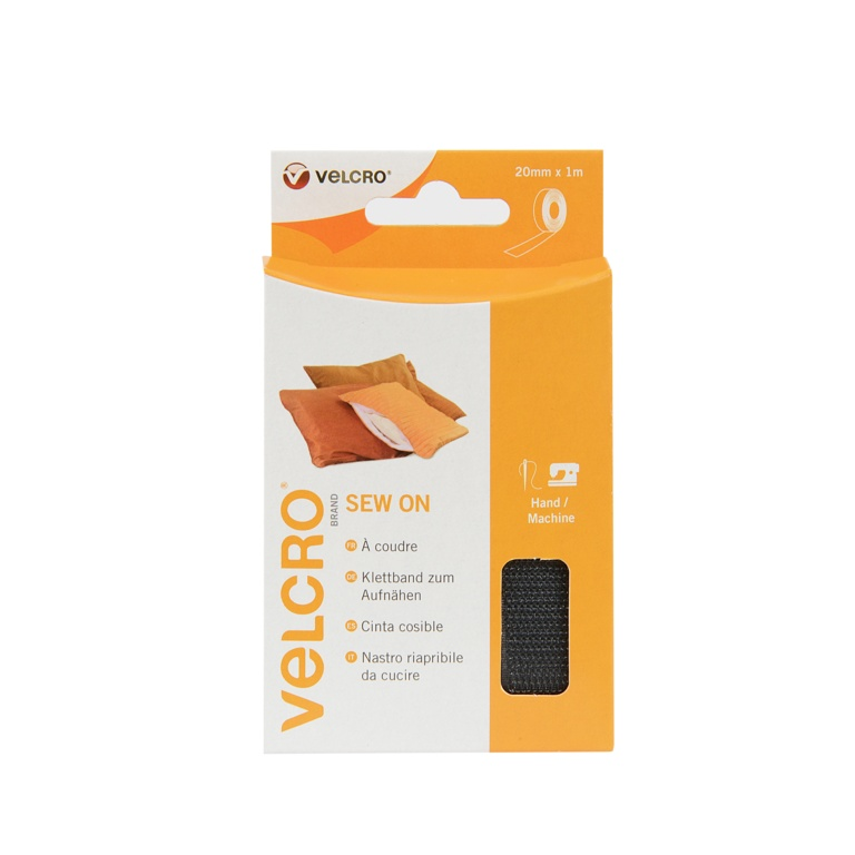 VELCRO® Brand Sew on Tape - 20mm  x 1m Black