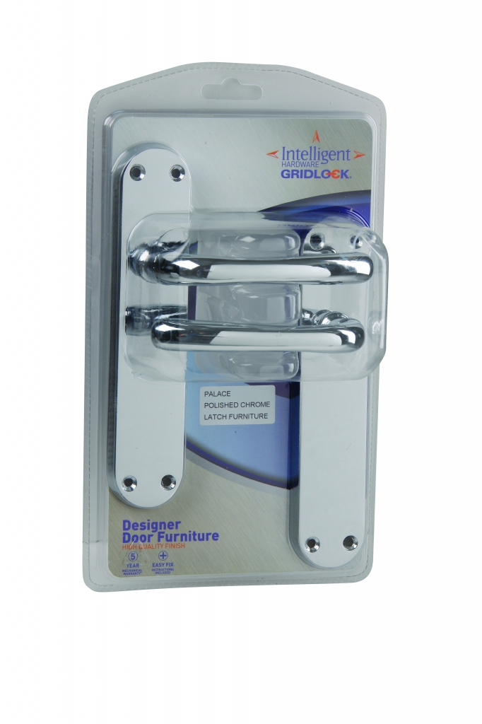 Gridlock Palace Lever Latch - Polished Chrome