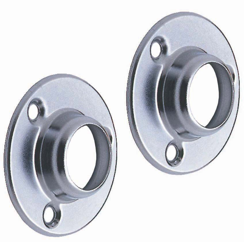 Colorail® Deluxe Sockets - Pair - 25mm Diameter, Brushed Nickel Finish