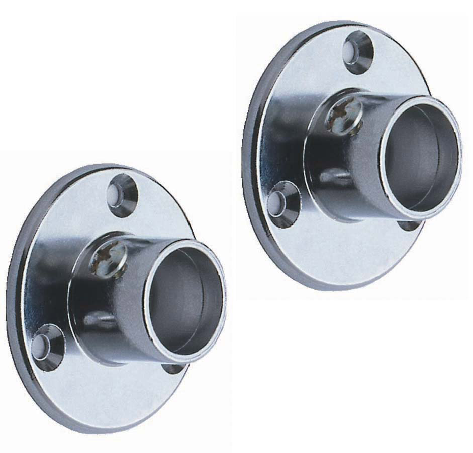 Colorail® Super Deluxe Sockets - Pair - 25mm Diameter, Brushed Nickel Finish