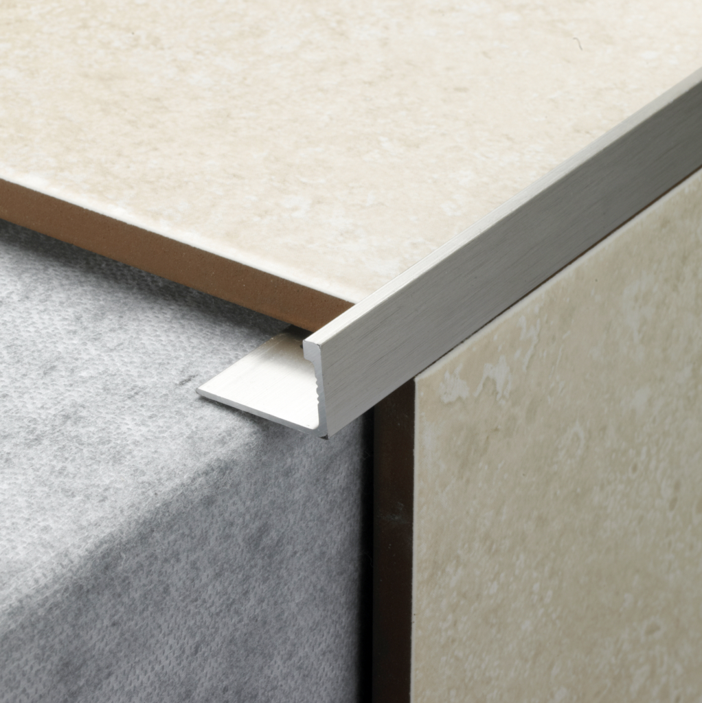 Tile Rite L Shape Tile Trim - 2.4m x 12mm Stainless Steel Effect