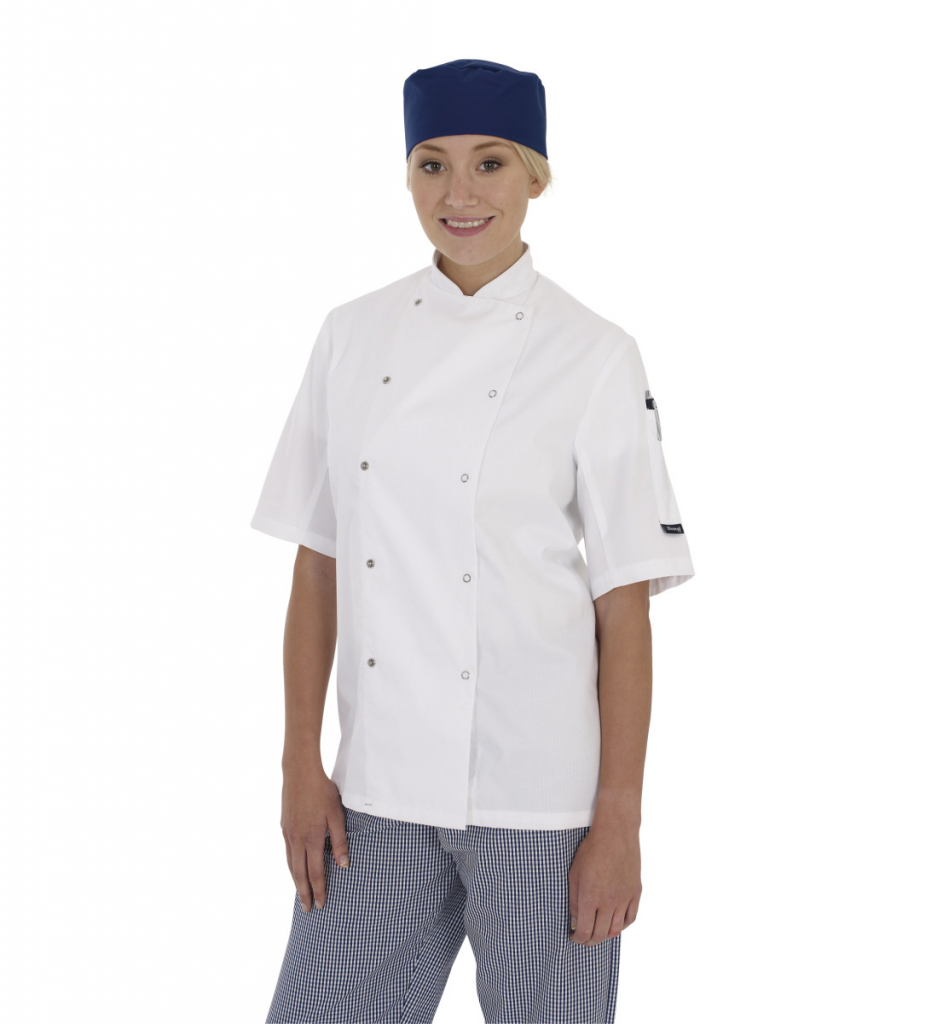 Dennys Short Sleeve Chef's Jacket White - 3XL