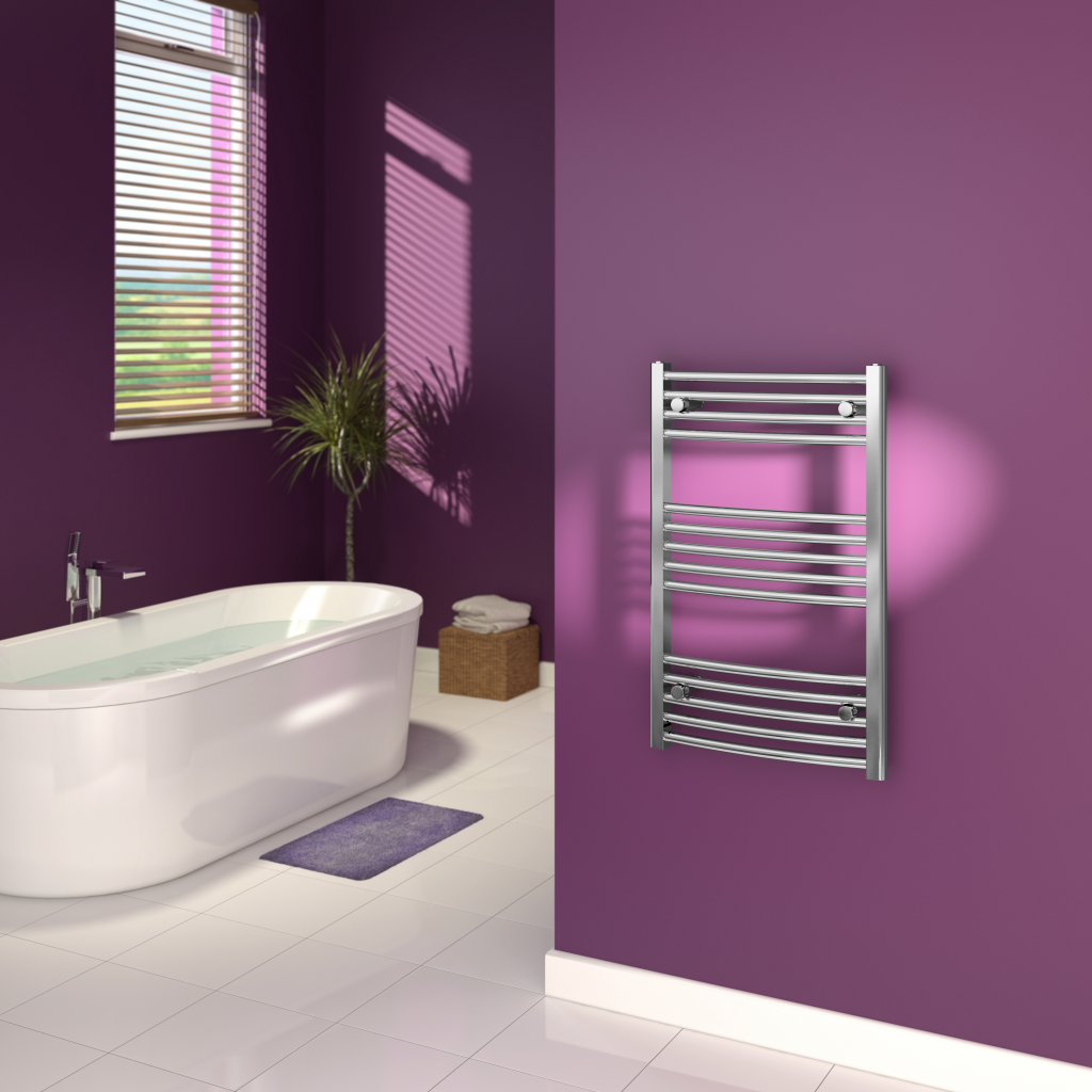 SupaPlumb Chrome Curved Towel Rail - 500 x 1200mm