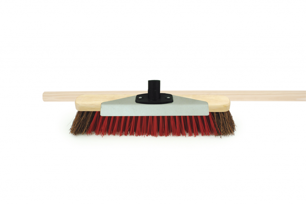 "Bentley Brush with Scraper and Wooden Handle - 16"" Natural Bassine and Red PVC"