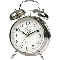 Acctim Saxon Bell Alarm Clock - Chrome