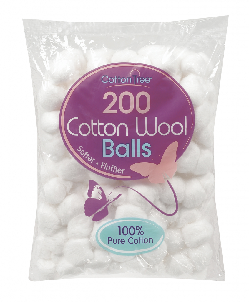 Cotton Tree Cotton Wool - Pack 200 Balls