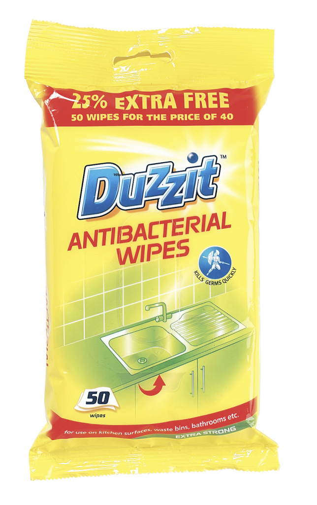 Duzzit Anti-Bacterial Wipes - 50 Pack