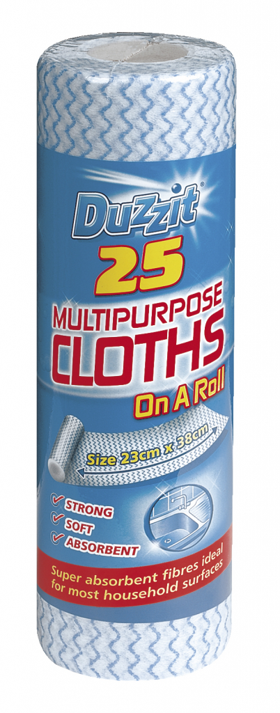 Duzzit Multi Purpose Cloths - Pack 25 On A Roll