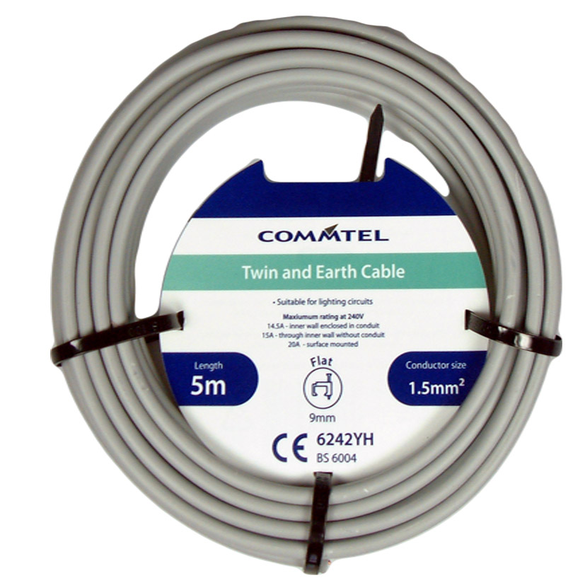 Commtel Twin and Earth Cable 5m 1.5mm