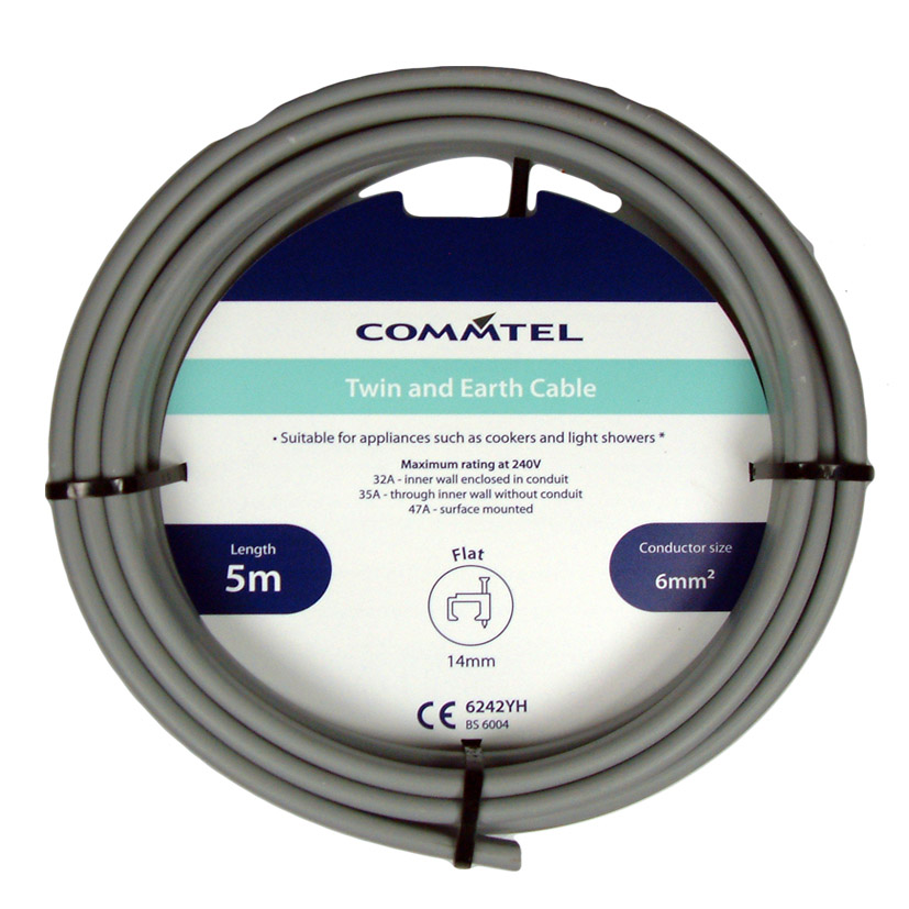 Commtel Twin and Earth Cable 5m 6mm
