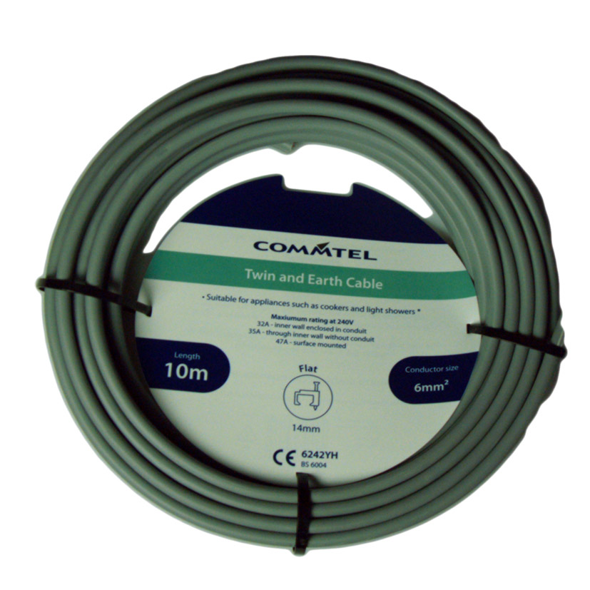 Commtel Twin and Earth Cable 10m 6mm