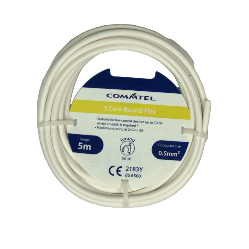 Commtel 3 Core Round Flex 5m, 0.5mm2