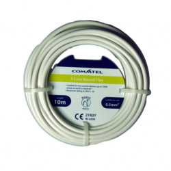 2182Y 2 Core White Round Flexible Cable 0.50 3A 0.75mm 6A Electrical